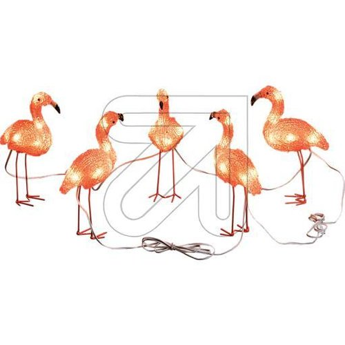 LED Acryl Flamingos 5er-Set 40 bernsteinf. LED außen 6267-803 - EAN 7318302678036